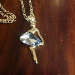 Sparkly Ballerina Dancer silver necklace